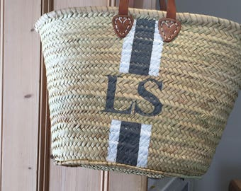 Monogram Straw Bag, Basket Handmade