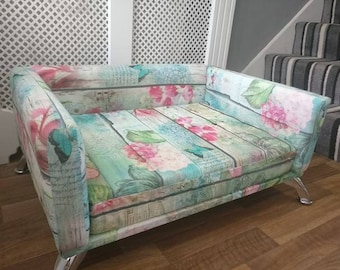 Memory Foam Shabby Chic French Vintage Style Dog /Cat Bed Sofa Chair XS S M L