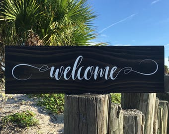 Welcome Sign, Housewarming Gift, Rustic Wood Welcome Sign, Front Door Welcome Sign, Welcome Wood Sign, Rustic Welcome Sign, Home Sign