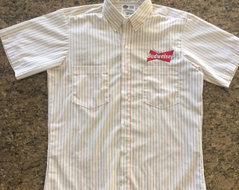 Vintage Budweiser Work Button Down Shirt~Sz L~King of Beers~USA Made
