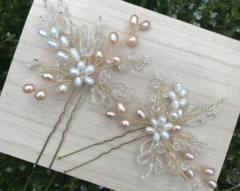 Crystal Bridal Hair Pins. Pearl hair pins. Decorative Hair Pins. Crystal hair pins. Bridal Hair Pins. Delicate pins. Wedding  hair pins