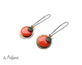 Enamelled sequin ♦ bronze and orange earrings orange and bronze sequin earrings