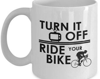Biking Mug Gift – Turn It Off Ride Your Bike – Fun Bicycle Coffee Cup for Cyclists, Men and Women, 11 Oz.