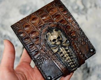GIFT FOR MEN Boyfriend gift Husband gift Mens gift ideas Wallets men Boyfriend birthday Custom wallet Mens leather wallet Skull wallet skull