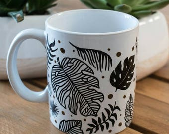 Cup pattern hand painted tropical leaves