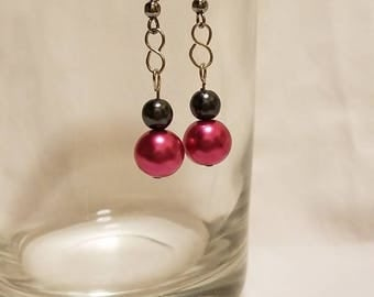 Pink and Charcoal Black Fish Hook Dangle Earrings