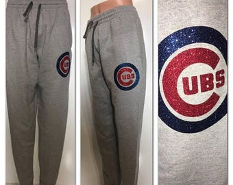 ON SALE Cubs Glitter Sweatpants|  chicago Cubs | cubbies sweatpants