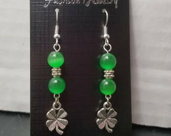 St Patrick's Day Four Leaf Clover Earrings