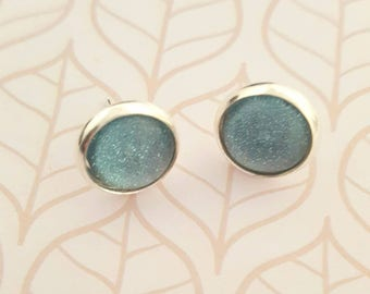 Blue glitter 12mm glass dome silver stud earrings