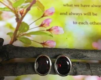 Oval Garnet Stud Earrings
