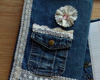 Vintage Lace Look Denim Journal, Composition, Notebook Cover, Jacket, Reusable, Bible Cover