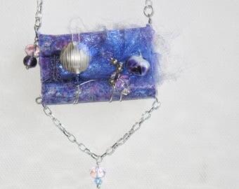 Purple Fiber Art Necklace