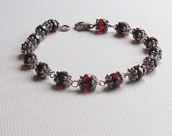 Red Glass and Silver Bracelet