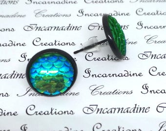 Green iridescent mermaid dragon scale post stud earrings