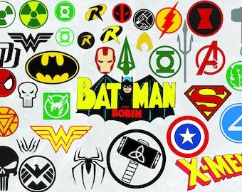 37 Superhero Logo Pack | SVG Cut Files | EPS | 300 PPI