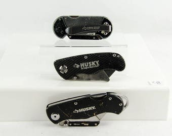 Lot of 3 Husky Folding Lock Back Utility Knife Box Cutter