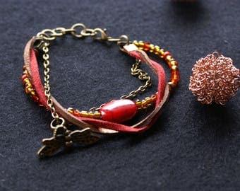 Suedine cord and seed beads, Swarovski bracelet