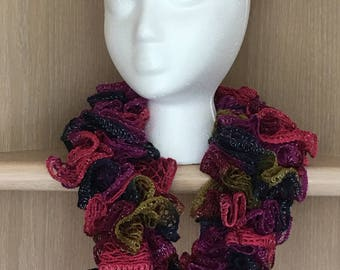 Crocheted Ruffle Cowl / Olive Purple Navy Pink Shimmer Ruffle Cowl