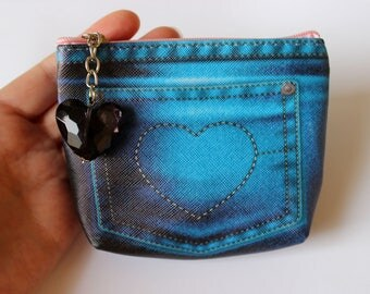 Coin Purse, Zip Pouch, Zip Purse, Jeans Print Coin Purse, Denim Print Purse, Coin Pouch, Cosmetic Pouch, Make-Up Purse, Cute Zip Coin Purse