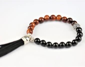 Black Tourmaline Natural Stone Mala Stretch Bracelet ~ GROUNDING