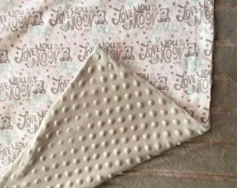 Gray Minky Baby Blanket