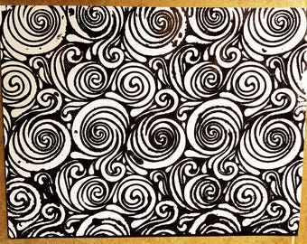 PAINTING: Stenciled Black and White Swirls