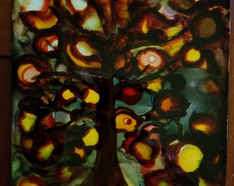 CERAMIC TILE: Dark Forest Tree, Abstract #027