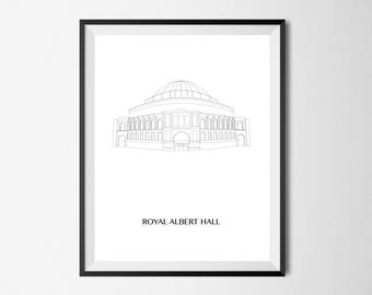 Royal Albert Hall, Black and White, Digital illustration, PDF download