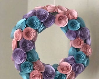 Coral perpel skyblue paper rose wreath, part decoration, birthay decoration