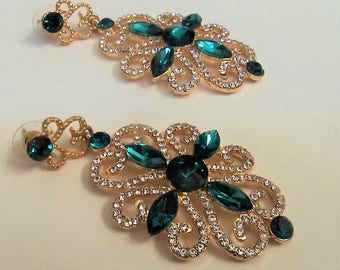 Emerald Green and Gold Chandelier Earrings