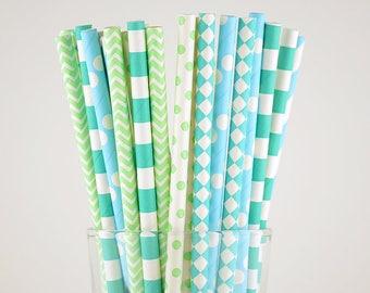 Mint/Light Blue Paper Straws Mix - Party Decor Supply - Cake Pop Sticks - Party Favor