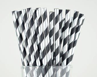 Silver Foil/Black Striped Paper Straws - Party Decor Supply - Cake Pop Sticks - Party Favor