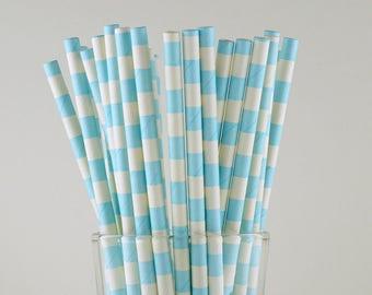 Light Blue Circle Paper Straws - Mason Jar Straws - Party Decor Supply - Cake Pop Sticks - Party Favor