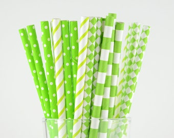 Bright Green/Lime Paper Straw Mix - Striped/ Circle/ Dots/ Diamond - Party Decor Supply - Cake Pop Sticks - Party Favor