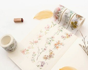 Set of 3 Rolls Flowers Rolls Washi Tape - 30mm x 8m - Gift Wrapping - Decorative Tape - Scrapbooking Sticker