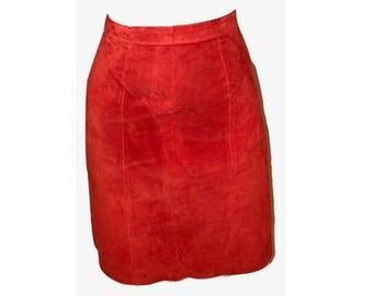 Vintage Orange Suede Pencil Skirt, Orange Leather Skirt, Suede Skirt