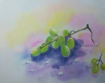 """Original watercolor  """"white grapes"""""""