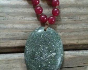 Gray/green gemstone pendant necklace
