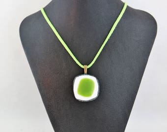 Green and White Fused Glass Necklace
