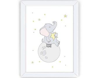 Elephant with Star, Nursery Animal Printable, Elephant Nursery Art, Aquarelle Nursery Art, Kids Wall Art, Nursery Wall Decor