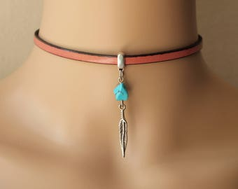Pink Choker,Leather Choker, Feather Choker,Italian Leather Choker