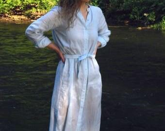 Handmade summer linen shirt dress