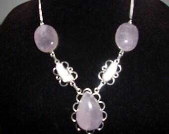 Georgeous Rose Quartz Necklace & Earring Set