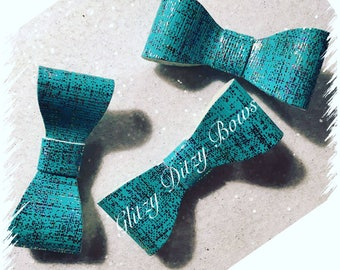 Blue/Silver Hair Bows Small