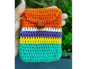 Crochet multicolor coin purse