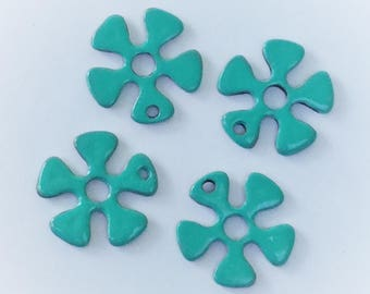9 Hand Painted Turquoise  Flower Charms 20mm