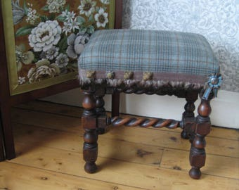Antique Oak Barley Twist Stool, Traditionally Upholstered with Blue 100% Pure New Wool Plaid