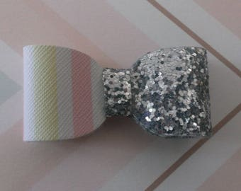 Silver glitter and pastel striped bow