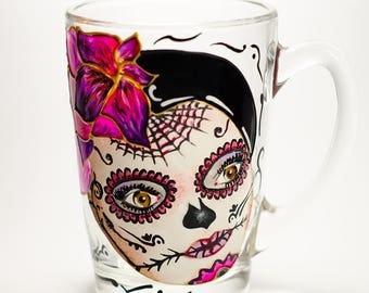 Coffee Mug Sugar Skull Halloween Mug, Day of the Dead Gift, Calavera Skull Girl Halloween Decor