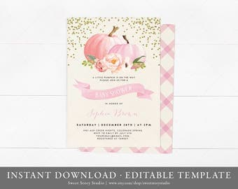 Instant Download | Watercolor Pumpkin Baby Shower Invitation Card | Editable | Fall Baby Shower Invite - A Little Pumpkin is on the way